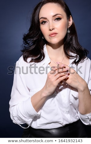 Zarif orta yaşlı kadın poz yün sıcak eşarp Stok fotoğraf © dash
