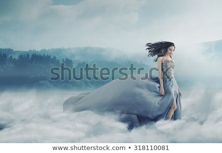 Beauty brunette in the windy weather Stock photo © konradbak