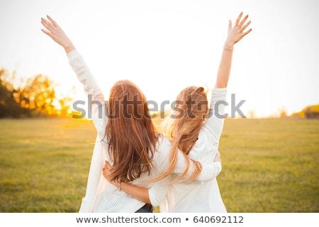 aranyos · nő · kezek · szexi · divat · haj - stock fotó © konradbak