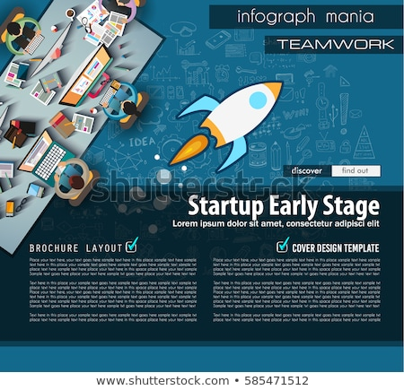 startup landing page template with hand drawn sketches and a lot of mockups design elements stock photo © davidarts
