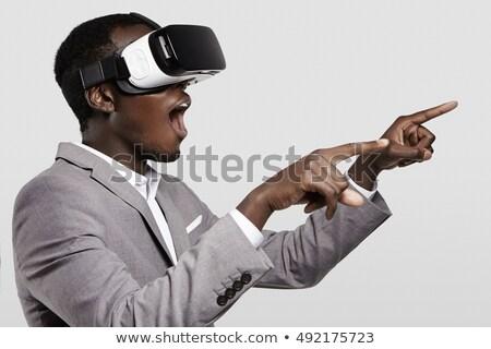 Miedo joven virtual realidad dispositivo Foto stock © deandrobot