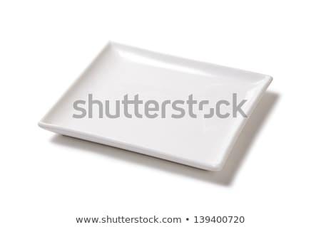 Kare beyaz fincan tabağı boş temizlemek nesne Stok fotoğraf © Digifoodstock