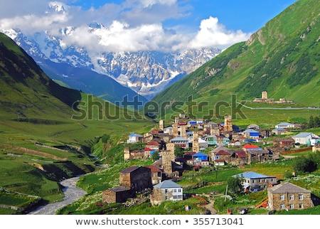 Magas hegy falu Grúzia tájkép csúcs Stock fotó © Kotenko