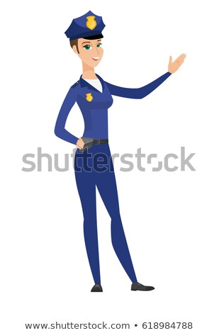 Caucasian policewoman showing a direction. Stock photo © RAStudio