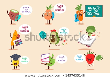 happy face banana and apple, back to school concept Stock photo © M-studio