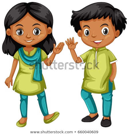 Boy and girl from India in green and blue outfit Stock photo © bluering