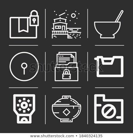 Dossiers granit professionnels icônes pixel Photo stock © micromaniac