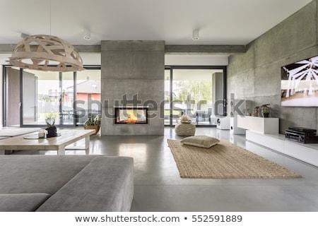 Stok fotoğraf: Modern · oturma · odası · şömine · iç · yangın · duvar