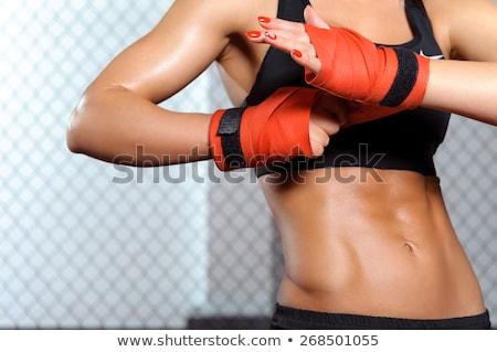 Feminino lutador bandagem em pé preto fitness Foto stock © wavebreak_media