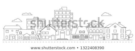 Schets stad huizen klein oude binnenstad daken Stockfoto © sharpner