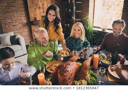 Diner geserveerd creatieve foto keukengerei geschilderd Stockfoto © Fisher