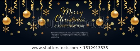 Elegáns akasztás arany karácsony golyók prémium Stock fotó © SArts