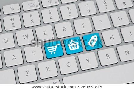 青 · ビッグ · 販売 · ボタン · キーボード · 現代 - ストックフォト © tashatuvango