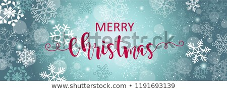 vector merry christmas illustration on shiny bright background with typography and holiday elements stock photo © articular