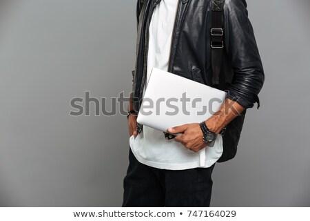 Foto stylish african Mann Lederjacke halten Stock foto © deandrobot