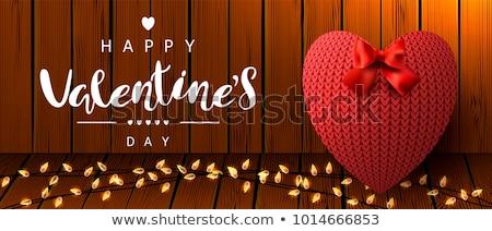 Gelukkig valentijnsdag wenskaart gebreid harten textuur Stockfoto © carodi
