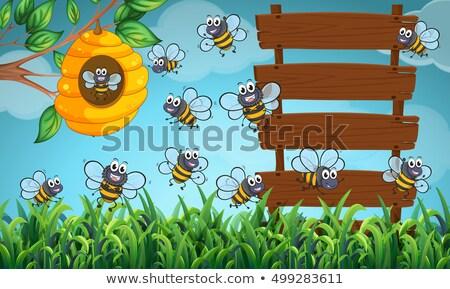 Fronteira modelo muitos abelhas voador ilustração Foto stock © bluering