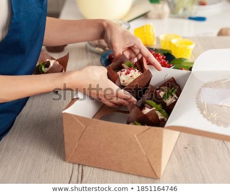 Stok fotoğraf: Kadın · şef · pasta · çöl · gıda