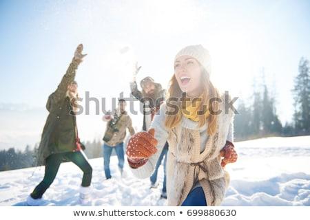tél · jókedv · nő · mosolyog · napszemüveg · nevet - stock fotó © IS2