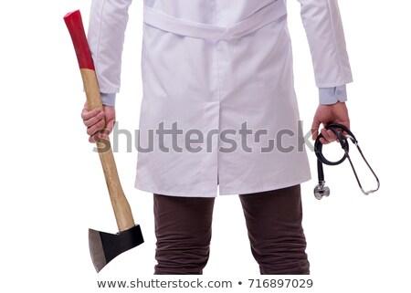 面白い 医師 斧 孤立した 白 作業 ストックフォト © Elnur