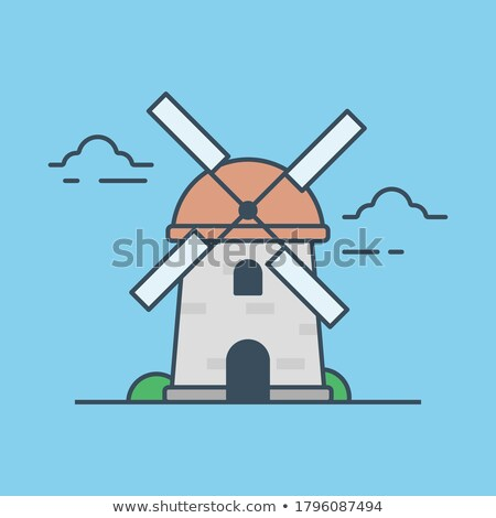 Medieval stone windmill isolated icon Stock photo © studioworkstock