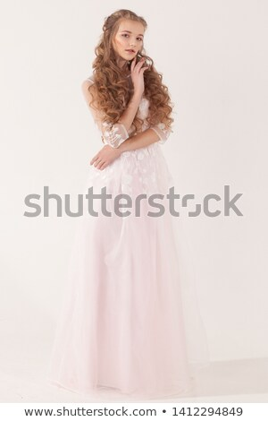 genç · kadın · yeşil · elbise · kız · şapka - stok fotoğraf © is2