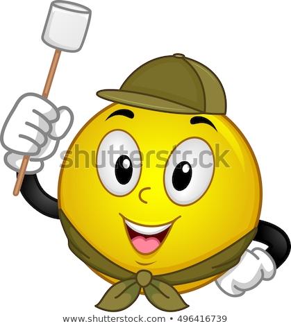 Verkenner heemst kamp mascotte illustratie Stockfoto © lenm