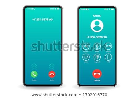 Foto stock: Telefonema · ícone · botão · tela · tecnologia