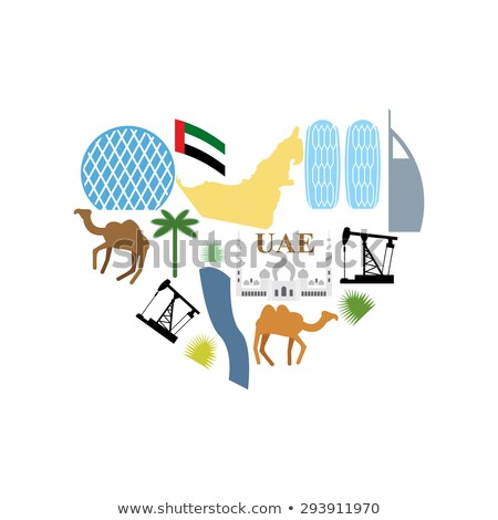 Stockfoto: I Love Uae Symbol Heart Attractions Of United Arab Emirates M