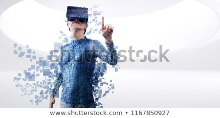 Full length of digital gray pixelated 3d woman Stock photo © wavebreak_media