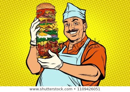Stok fotoğraf: Gülen · sokak · gıda · şef · büyük · Burger