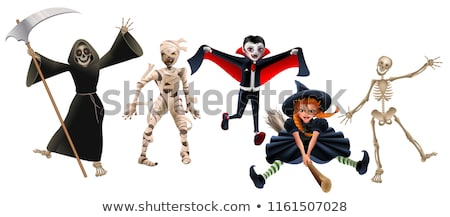 Stock photo: Death with scythe, mummy, dracula vampire, witch on broomstick and skeleton. Set characters Hallowee