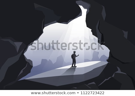 Napsütés sötét barlang illusztráció naplemente tájkép Stock fotó © bluering