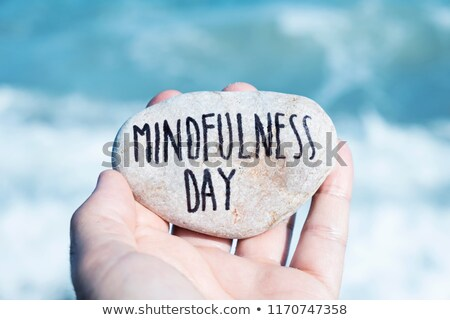man on the beach and text mindfulness day Stock photo © nito
