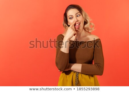 女性 触れる 舌 指 肖像 孤立した ストックフォト © Kzenon