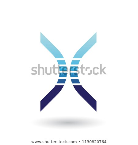 blue bow shaped striped icon for letter x vector illustration stock photo © cidepix