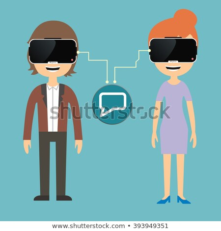 Woman in Virtual Reality Glasses Chatting Vector Stock photo © robuart