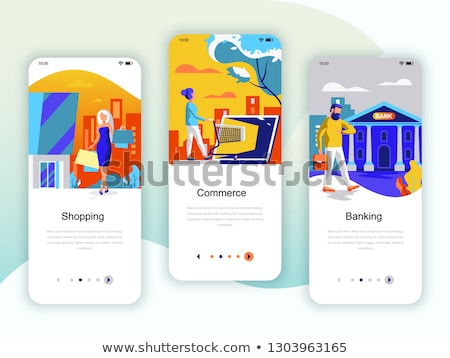 Flat design shopping app screens. Modern user interface UX, UI screen template for mobile smart phon Stock photo © makyzz