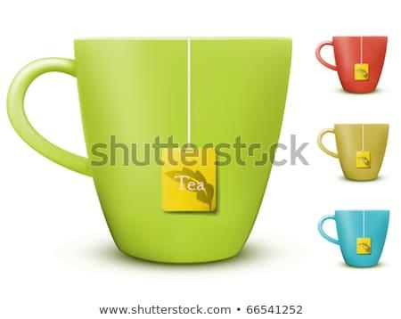 vector tea mug with teabag label and leaves Stock photo © m_pavlov