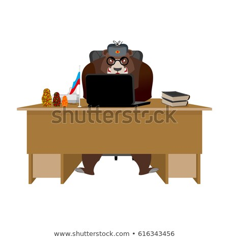 Russian hacker. Bear and laptop. IP technology in Russia. Wild b Stock photo © popaukropa