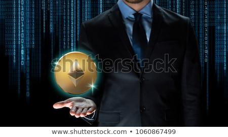 Empresário mão código binário financeiro tecnologia negócio Foto stock © dolgachov
