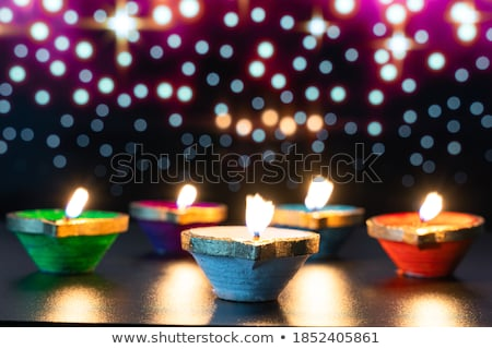 Artystyczny szczęśliwy diwali festiwalu tle lampy Zdjęcia stock © SArts