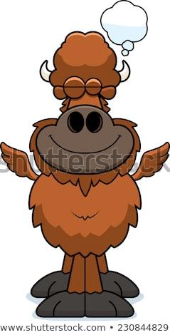 Cartoon buffalo wings illustratie glimlachend grafische Stockfoto © cthoman