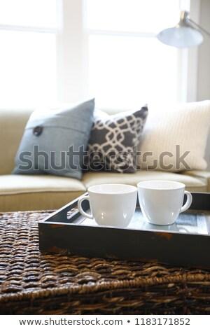 Família quarto interior mesa de café madeira Foto stock © iriana88w