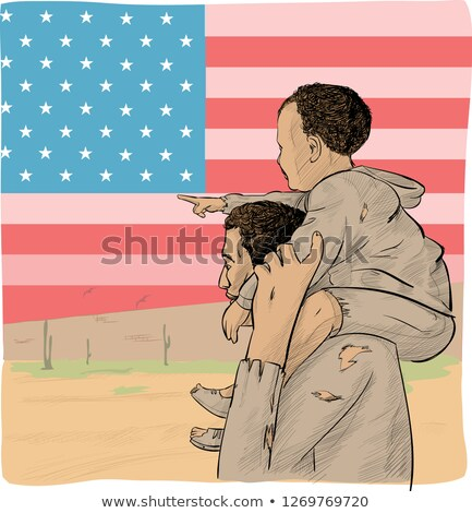 father and son immigrant in front of the USA flag Stock photo © doomko