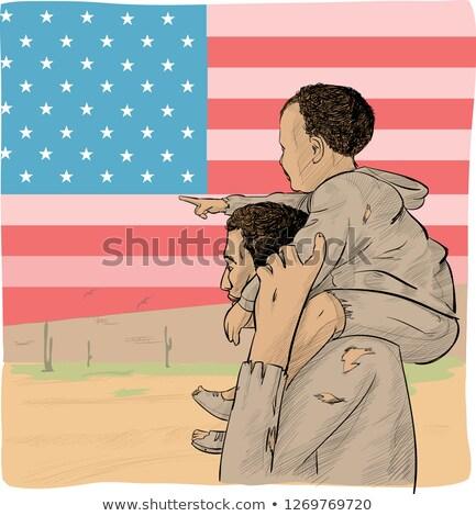 hijo · de · padre · EUA · bandera · hombre · ayudar · sin · hogar - foto stock © doomko