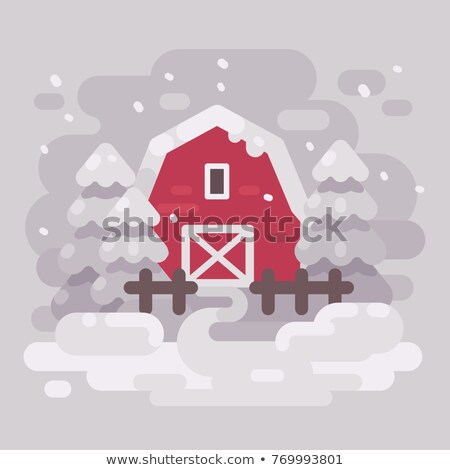Stok fotoğraf: Kırmızı · ahır · Bina · ağaçlar · kış
