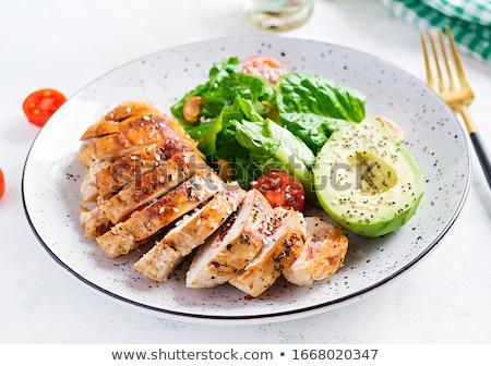 Tavuk fileto plaka beyaz sos restoran Stok fotoğraf © tycoon