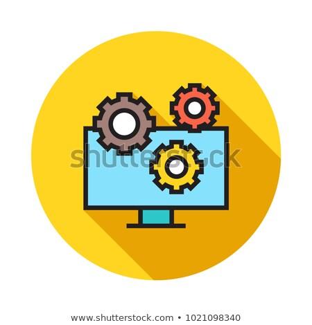 экране компьютера геометрический признаков икона вектора Сток-фото © robuart