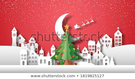 merry christmas cutout greeting card city building stock photo © robuart
